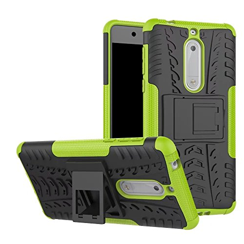 Preisvergleich Produktbild Nokia 5 Hülle, Stilvoller Handyhülle Fall GOGME [Dual Layer Armour Series] Rugged TPU / PC Hybrid Armor Super Schutzhülle. Anti-Scratch PC Rückwand Schale + Stoßfeste TPU Innenschutzabdeckung + Faltbarer Halterungen ,  für Nokia 5 Case Cover.Grün