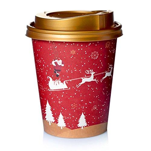 Gastro-Sun 200 x Coffee to go Becher 24cl Pappbecher Rentier mit Deckel Gold Weihnachtsbecher -