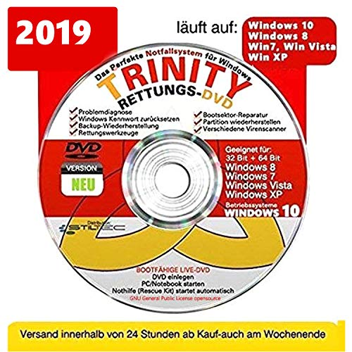 TRINITY Windows RETTUNG CD/DVD| Windows 10 ® Windows 8 | 7| Vista| XP=RECHNER REPARATUR ORIGINAL von STILTEC ©