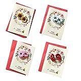 Set von 4 frohe Weihnachten Grußkarten mit Blumen Wunschkarten-Set