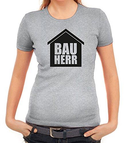 Eigenheim Damen T-Shirt mit Bauherr Motiv von ShirtStreet Graumeliert