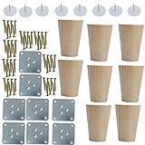 Sourcingmap - Patas redondas de madera para muebles, sofás, sillas, escritorios, armarios, armarios, bancos, 8 unidades