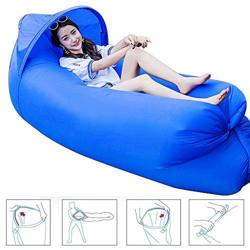 Original Design 0,9kg tragbar Schnell aufblasbares Sofa/Bett/Boot für Outdoor Wandern Camping Lounge Strand und Garten Freizeit Schlafsäcke Camping Bett mit Sonnenschirm - dunkelblau (Bag Green Beach)