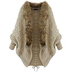 MYONA Poncho para Mujer de Invierno, Cárdigan de Punto Capa con Cuello de Piel Sintética Poncho de Punto de Las Mujeres Cárdigan Suéter Abrigada Calentito Diseño Casual Manta Chal 76-120cm×78cm Khaki
