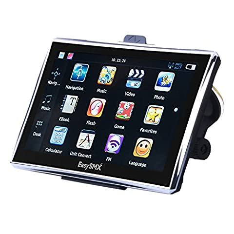 [7 Pouces GPS Auto 128M-8GB ] EasySMX Navigation avec Pre-loaded Carte 7 pouces Ecran Large Tactile Multi-languages TFT LCD MTK MS2531 800MHZ 128M-8GB WinCE 6.0 1500mah avec 51 pays Cartes