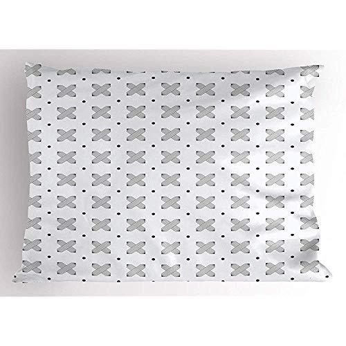 2pcs Zusammenfassung Pillow Sham,Kontinuierliche Symmetrische Motive Monochrome Töne Drucken auf Plain Hintergrund,Dekorative Standardgröße Gedruckt Kissenbezug,36 X 20,Weiß Anthrazit -