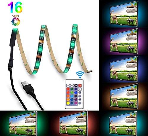 Bomcosy USB LED Hintergrundbeleuchtung TV RGB die 24 Wichtigsten Fernbedienung 1 x 100cm 16 Mehrfarbige Stimmung Licht für HDTV Home Theater Desktop PC