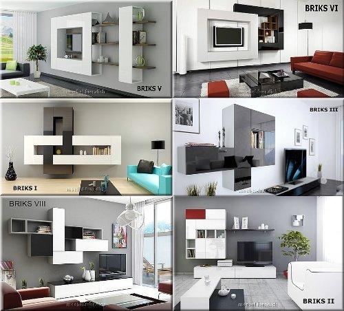 12-teilige modulare Designer Hochglanz Wohnwand Briks I mit großer Farbauswahl - 6