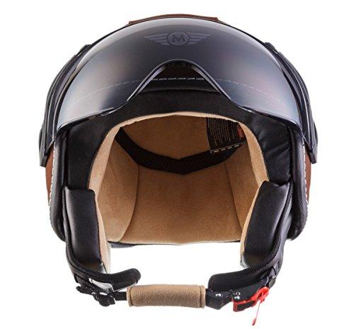 moto h44 leather brown retro vespa helm mofa bobber. Black Bedroom Furniture Sets. Home Design Ideas