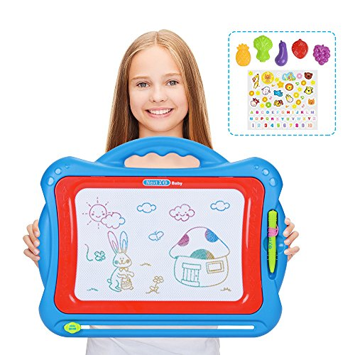 NextX Ardoise à Dessin Coloré Avec Chiffres Magnétique Loisir Créatif Jouet Educatif Pour Enfants Avec 5 Timbres , 1 Stylo et 1 Autocollant(Bleu)