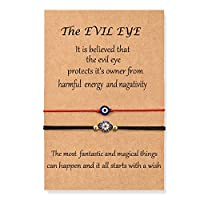 Shonyin Evil Eye Bracelet for Women Protection Red String Kabbalah Ojo Turco Lucky Nazar Bracelets for Men Family Friend 2pcs