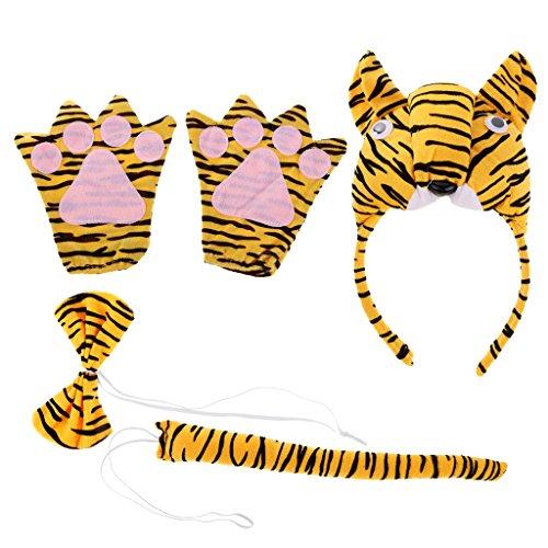 Kostüm Set Halloween Stirnband Handschuh Fliege Schwanz Kostüm Accessoire Karnevalskostüme Tier - 3d Tiger (Tiger Kostüm Stirnband)