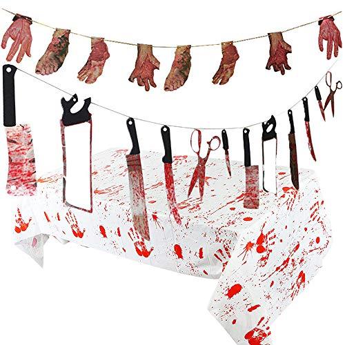 Tian Set de accesorios para la decoración de la fiesta de Halloween, incluidos los cuchillos para armas sangrientas Garland, las manos rotas y los pies en la pancarta y el mantel ensangrentado (14 piezas)