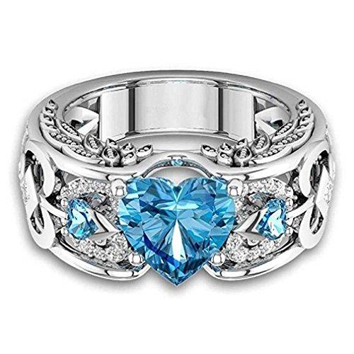 Liquidazione offerte, fittingran anelli ali clearance, pietre preziose naturali rubino anelli birthstone anelli di fidanzamento fedi regalo gioielli (9, cielo blu)