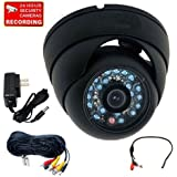 VideoSecu Outdoor Day Night Infrared Security Camera 600TVL Built-in 1 3 Sony CCD 20 IR LEDs Vandal Proof CCTV Home Surveillance DVR System with Audio Microphone Extension Cable Power Supply 1V3