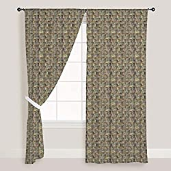 ArtzFolio Tiled Art - Portrait Shape 4feet x 8feet; SET OF 2 PCS - CURTAIN for ROOM & WINDOW of PREMIUM SATIN Fabric: Digital Printed Wall Curtain: Home Dcor for Living Room, Dining Room, Bedroom, Kids Room, Dining Room, Offices, Meeting Rooms : Abstract : Digital Art
