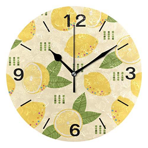 ISAOA Runde Wanduhr, modernes Design, geräuschlose Uhren, Dekoration, Wohnzimmer, Schlafzimmer, Schule, Büro, gelbe Zitronen und Blätter, batteriebetrieben