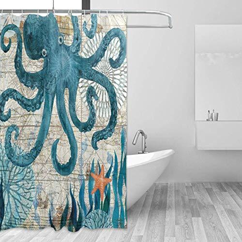 Duschvorhang 72x72 Zoll Hintergrund Ocean Blue Teal Sea Octopus Kraken Badezimmer Home Decor Set waschbar wasserdicht 12 Haken für Frauen