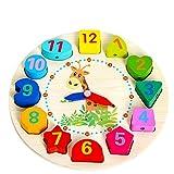 LILICAT Éducatif Bébé Horloge En Bois Perlé Perles Jouet Enfant Infantile Intelligence Jouets Bloc De Construction Perlé Horloge En Bois Perlé Puzzle Jouet (Multicolore)