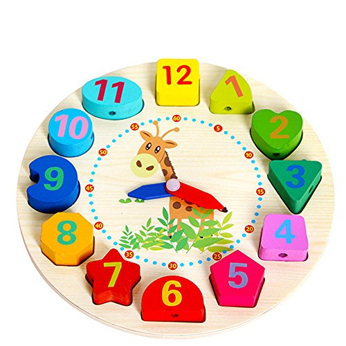 ❤️LILICAT Éducatif Bébé Horloge En Bois Perlé Perles Jouet Enfant Infantile Intelligence Jouets Bloc De Construction Perlé Horloge En Bois Perlé Puzzle Jouet (Multicolore)