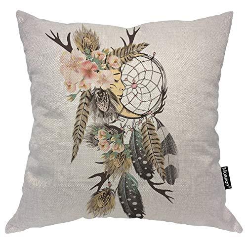 Moslion Funda de cojín con diseño atrapasueños Bohemio atrapasueños con Plumas y Hojas de Rosas Silvestres de 16 x 16 Pulgadas, Funda de cojín Cuadrada de Lino y algodón para sofá o Cama