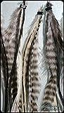 """5er Pack Feder Extensions """"Black and White"""" für schwarzes Haar"""