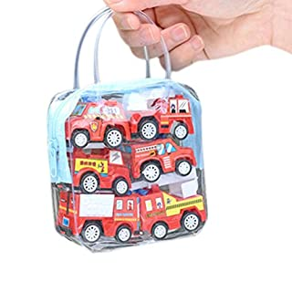 AmaMary Pull Back Cars for Toddlers 6 Pack MINI Pull Back and Go Car Toy Play Set Include City car Fire truck Engineering vehicle (Fire truck)