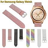 Altsommer 20mm für Samsung Galaxy Watch 42mm Armband, Scheint Luxus Leder Paillettenband Uhrenarmbänder Edelstahl Gürtelschnalle Lederarmband Replacement für Damen Herren (Silber)
