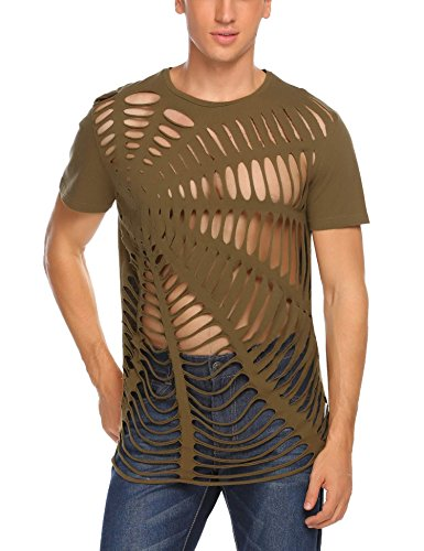 Coofandy Herren Shirts Party Outfit Netz Strings Spinne T-Shirt F-Army Green