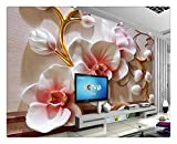 Fototapete Foto Fototapete Benutzerdefinierte 3D Fototapete Wandbild Wohnzimmer Tv Hintergrund Tapete Schmetterling Orchidee Blume Relief 3D Bild Tapete Wohnkultur, 300 Cm X 210 Cm