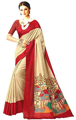 Jaanvi Fashion Women's Linen Saree(Printed_Beige)