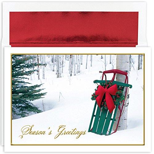 Masterpiece Studios Holiday Collection Box Karten, Winter Schlitten, 16Karten/16mit Folie ausgekleidet Briefumschläge -