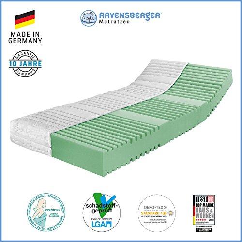 Ravensberger Matratzen Orthopädische 7-Zonen Matratze | HR Kaltschaummatratze H3 RG 45 (80-120 kg) | MADE IN GERMANY - 10 Jahre Garantie | ÖKO-TEX 100 Bezug Baumwoll-Doppeltuch 100x200 cm