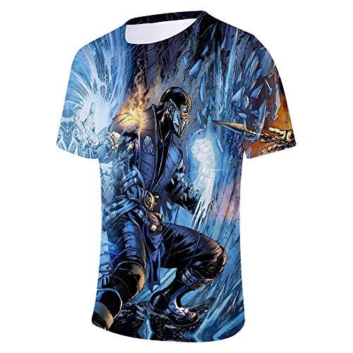 WUDUHUI 3D digital bedrucktes kurzärmliges T-Shirt Mortal Kombat 11 einfache, lässige Herren- und Damenmodelle
