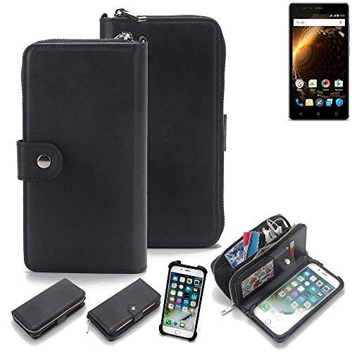 K-S-Trade 2in1 Handyhülle für Allview P6 Energy Lite Schutzhülle & Portemonnee Schutzhülle Tasche Handytasche Case Etui Geldbörse Wallet Bookstyle Hülle schwarz (1x)