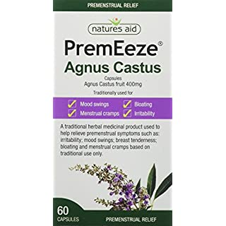 Natures Aid PremEeze Agnus Castus, Vegan Society Approved, 400 mg, 60 Capsules