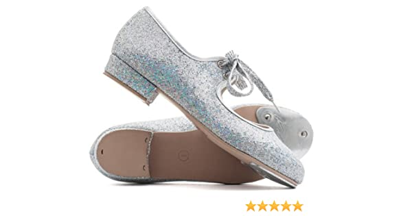 Girls Ladies Silver Glitter Low Heel Tap Dance Shoes With Toe Plates By Katz Dancewear Childs UK 10.5