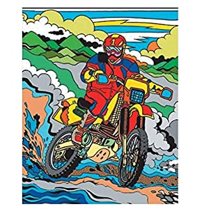Colorvelvet Motocross - Sistema de Dibujo para Colorear, diseño de Motocross, 37x28cm, tamaño Mediano, Multicolor