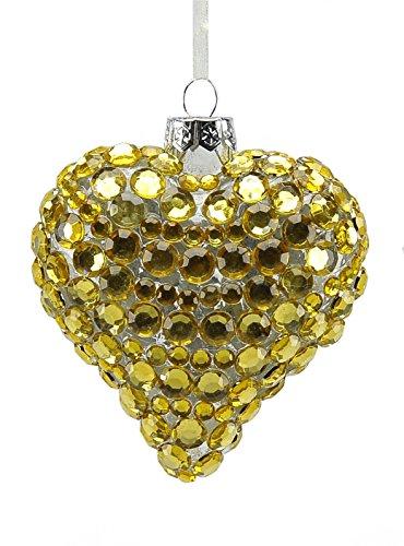 Boule en verre cœur Or cm.8