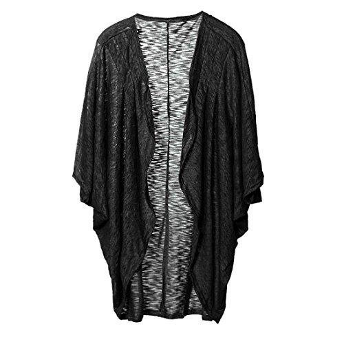 YunYoud Damen Große Größe Beiläufig Stricken Sweatshirt Einfarbig Lange Ärmel Tops Strickjacke Irregulär Jacke Mode Mantel (S, schwarz) (Stricken Gedruckt Pullover)