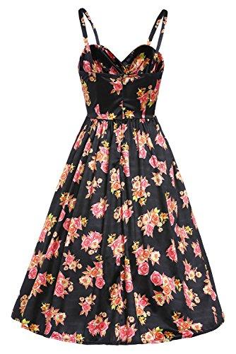 DISSA VDSY61063 femme robe vintage cocktail Noir