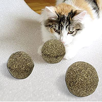 Coceca 3PCS Catnip Pet Toy Ball, Natural Catmint Ball, Healthy Toy for Your Cat