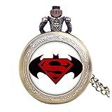 Batman VS SUPERMAN LOGO Antik Bronze Effekt Retro/Vintage Case Herren Quarz-Taschenuhr Halskette–auf 80cm Kette.