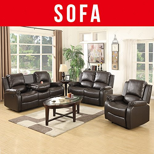 Uenjoy 3 2 1 Seater Leather Recliner Sofa Suite Brown Cheap Corner