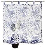 MY HOME Raffrollo »Mallorca« Allover Blumenmotiv aus Voile in Baumwolloptik Größe: L/B 140 x 140 cm in Blau/Weiß