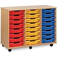 Monarch Mobile School Shallow Tray Storage Unit 24 Coloured Trays Beech MEQ4W-COL