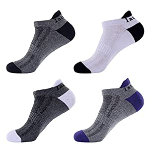 Laulax 4 pairs Mens Professional Coolmax Running Socks, Achilles Tendon Protection, Size UK 7 - 11 / Europe 41 - 46, Gift Box