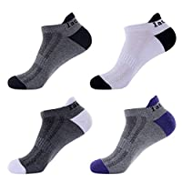 Laulax 4 pairs Mens Professional Coolmax Running Socks, Achilles Tendon Protection, Size UK 7-11 / Europe 41-46, Gift Box