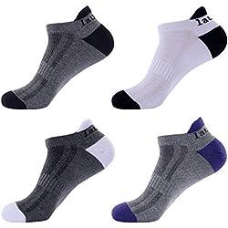 Laulax - 4pares de calcetines de Running, para hombre, calcetines de Running Coolmax, protección profesional, para protección tendón de Aquiles,, Talla UK 7–11/Europa 41–46,, caja de regalo