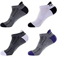 Laulax 4 pairs Mens Professional Coolmax Running Socks, Achilles Tendon Protection, Size UK 7 - 11 / Europe 41 - 46, Grey with White Toe, Grey with Black Toe, Grey with Purple Toe, White with Black Toe